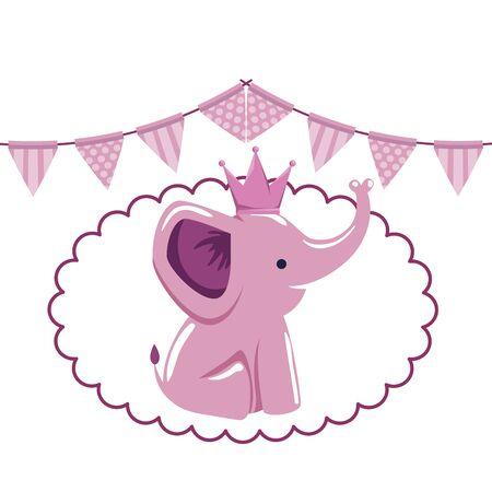 baby shower card with little elephant vector illustration design
