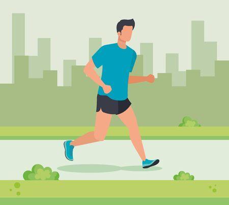 man trotting sport lifestyle in the cityscape with bushes plants, vector illustration Ilustração