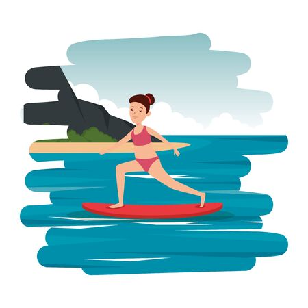 happy athletic girl practicing surf in the sea vector illustration design
