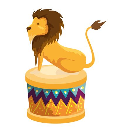 circus lion domesticated in step vector illustration design