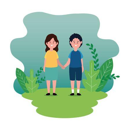 little kids couple on the park scene vector illustration design