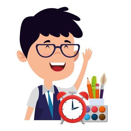 happy student boy with alarm clock and supplies vector illustration design Ilustração