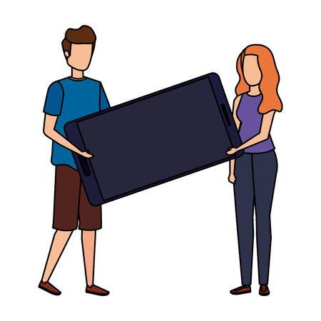 young couple lifting smartphone device characters vector illustration design Illusztráció