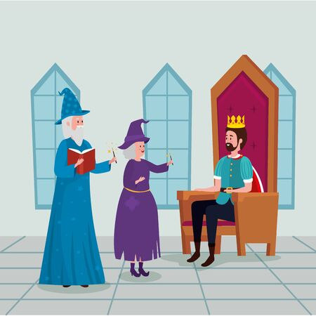 king with wizard and witch in castle vector illustration design Foto de archivo - 134544135