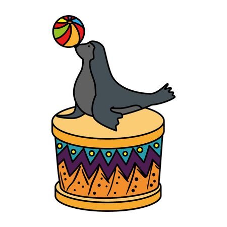 circus seal marine playing with balloon in stage vector illustration design
