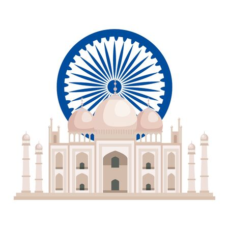 ashoka chakra with tag majal indian mosque vector illustration design Ilustrace