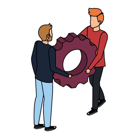 young men lifting gear machine settings vector illustration design