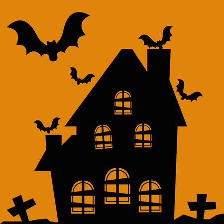halloween house abandoned with bats flying vector illustration design