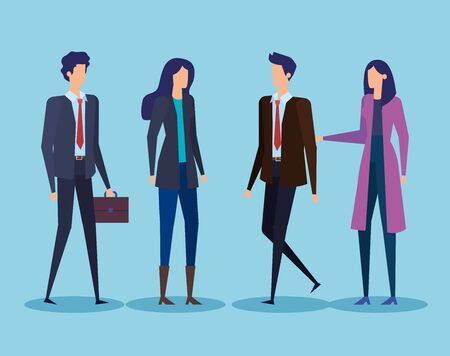 executive businesswomen and businessmen with elegant clothes over blue background, vector illustration