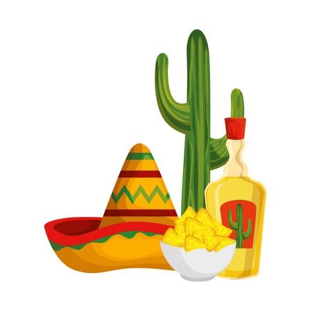 tequila with mexican hat and nachos cinco de mayo celebration vector illustration Vector Illustration