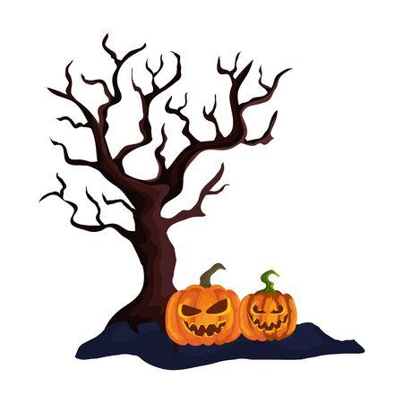 dry tree with halloween pumpkins vector illustration design 向量圖像