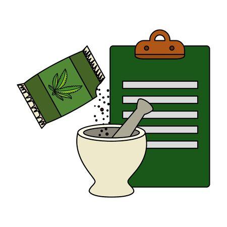 cannabis seeds bag with grinder and checklist vector illustration design Foto de archivo - 134550686