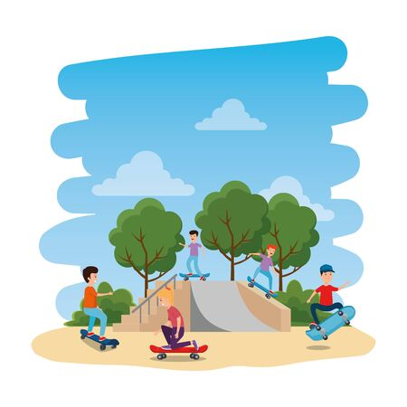 happy young kids in skateboard on the park with ramp vector illustration design