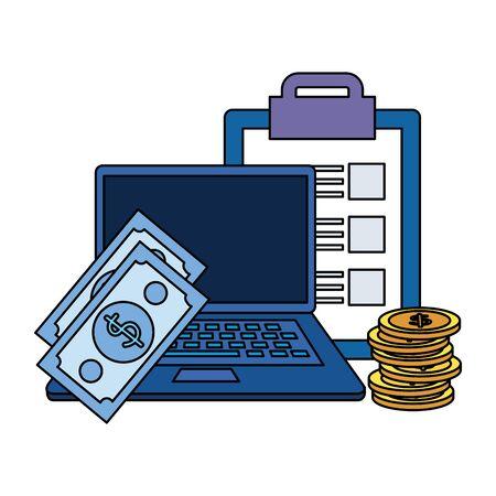 money dollars with checklist and laptop vector illustration design Illusztráció