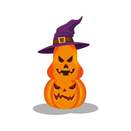 halloween pumpkins with hat witch isolated icon vector illustration design Foto de archivo - 134552032
