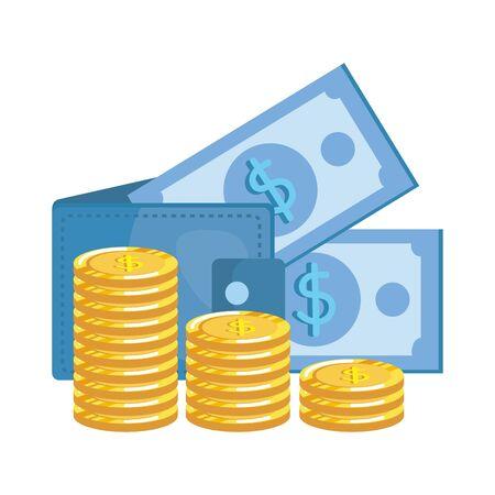 coins and bills money dollars with wallet vector illustration design Illusztráció