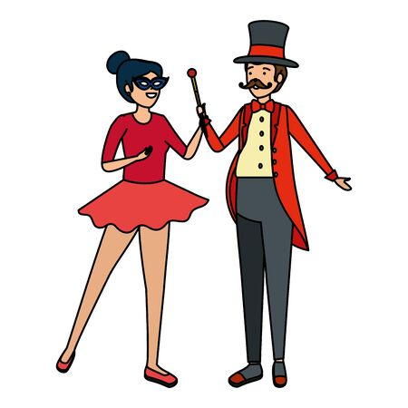 circus magician with hat and woman vector illustration design Foto de archivo - 134552058