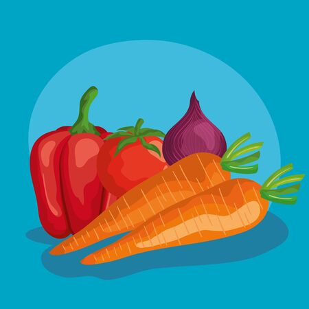 carrots pepper onion and tomato design, Vegetable organic food healthy fresh natural and market theme Vector illustration Illustration