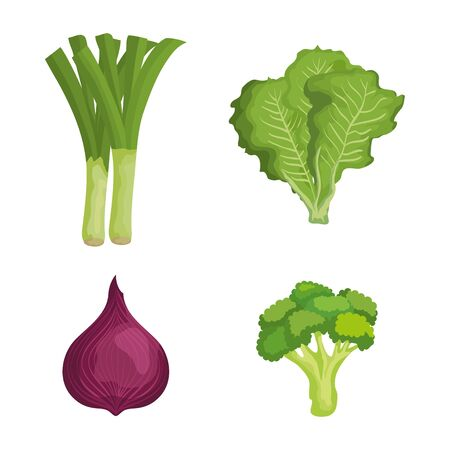 set of fresh vegetables with healthy nutrition over white background, vector illustration