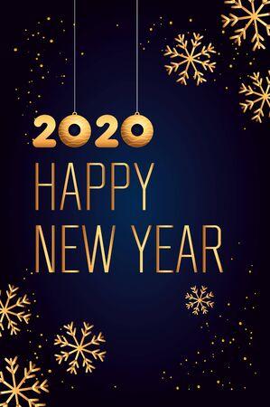 雪片ベクターイラストデザインで幸せな新年2020のポスター