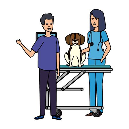 female veterinary with dog and owner in stretcher vector illustration design