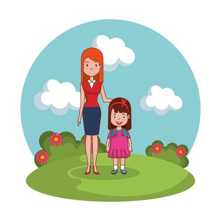 mother with daughter family in the landscape vector illustration design Illusztráció
