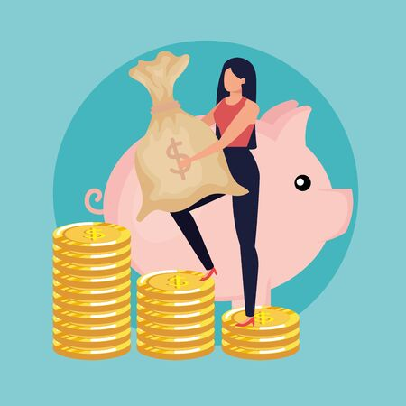 young woman with money bag character vector illustration design Çizim