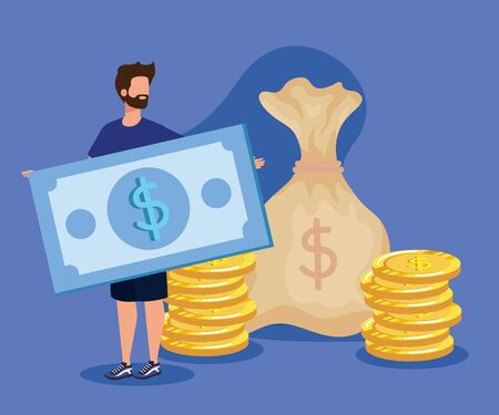businessman with bill and coins with bag money over purple background, vector illustration Foto de archivo - 134556721