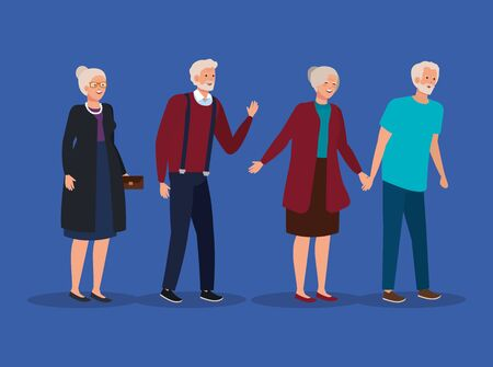 cute old women and men together over blue background, vector illustration