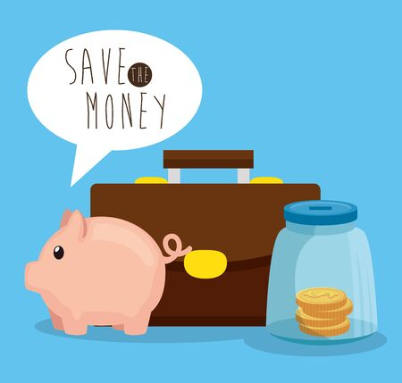 piggy and coins inside glass bottle with suitcase over blue background, vector illustration Zdjęcie Seryjne - 134556959