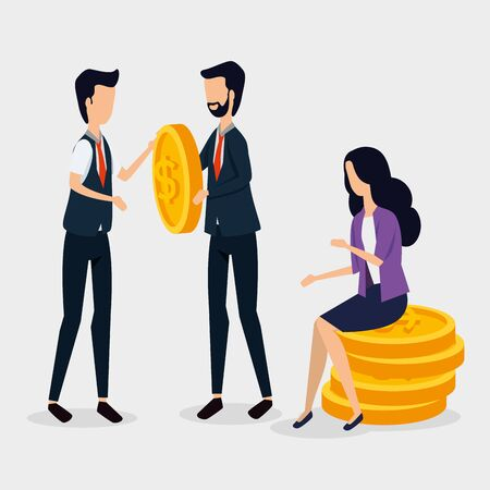 professional businessmen and busitesswoman sitting in the coins to strategy plan, vector illustration Foto de archivo - 134556995