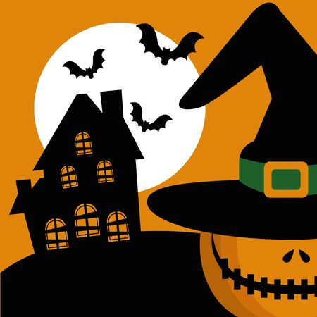 halloween pumpkin with abandoned house and icons vector illustration design Foto de archivo - 134572778