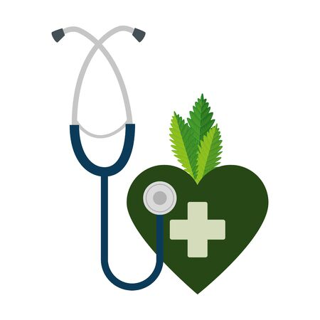 heart with cannabis leafs and stethoscope vector illustration design