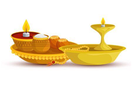 ramadan kareem dish with candle and food vector illustration design Illusztráció