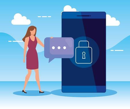 woman with chat bubble and smartphone technology to business strategy, vector illustration Zdjęcie Seryjne - 134558397
