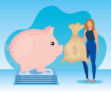 businesswoman with bag and piggy with bills cash money over blue background, vector illustration Zdjęcie Seryjne - 134558401