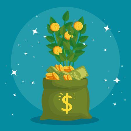 plant of coins in bag money vector illustration design Ilustracja