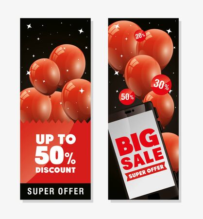 set poster black friday with balloons helium decoration vector illustration design