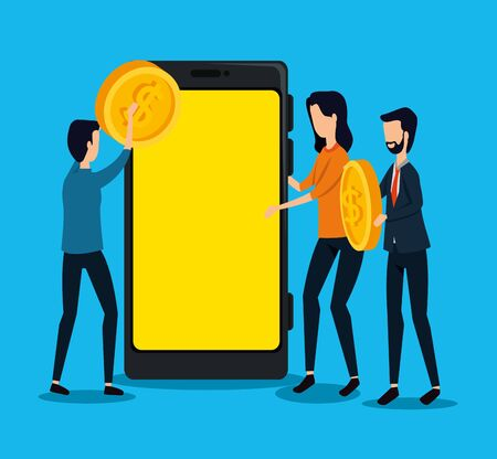 businessmen and businesswoman teamwork with coin and smartphone to social plan, vector illustration Zdjęcie Seryjne - 134558414
