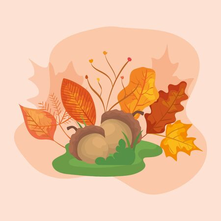nuts with leafs of autumn vector illustration design