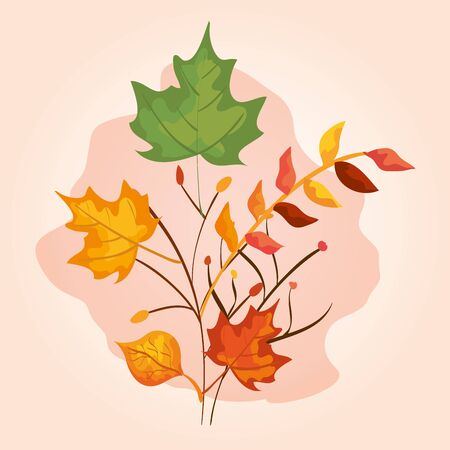 autumn season with nature branches plants and leaves over pink background, vector illustration