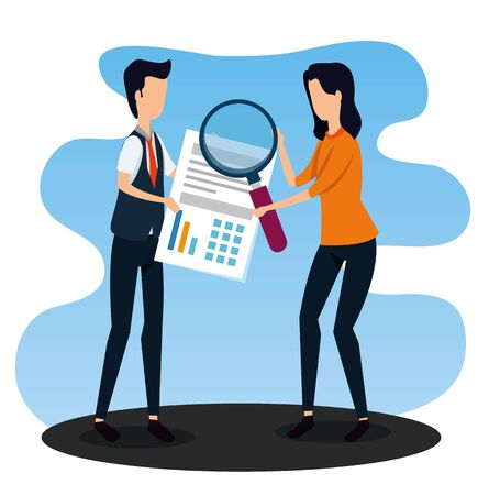businessman and businesswoman with document and magnifying glass to strategy plan, vector illustration Zdjęcie Seryjne - 134558571