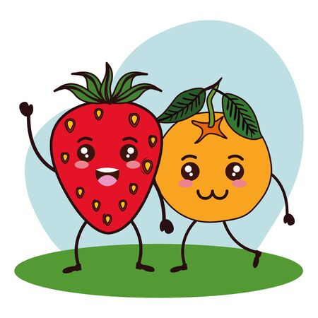 fresh strawberry and orange kawaii characters vector illustration design Ilustracja