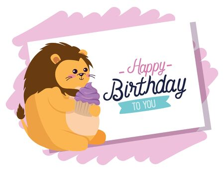 card with cute lion animal and muffin to happy birthday, vector illustration