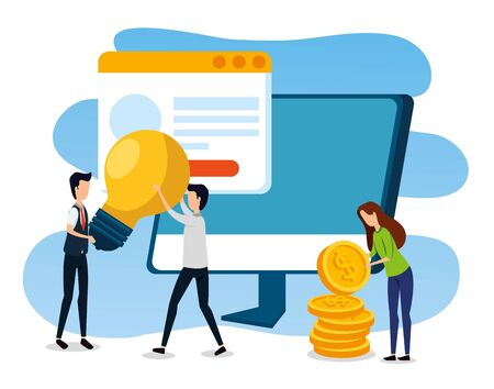 businessmen and businesswoman with computer and website with coins to office strategy, vector illustration Ilustracja