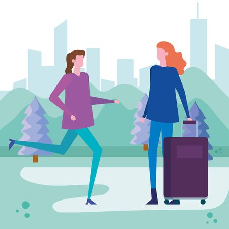 women with casual clothes and hairstyle with baggage around of trees and mountains, vector illustration