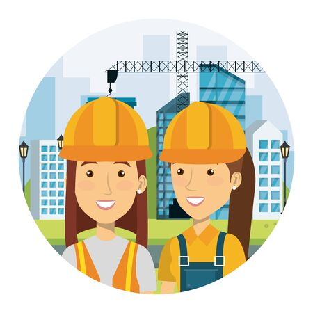 female builders constructors on workside characters vector illustration design