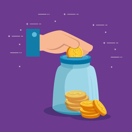hand with coin cash money and glass bottle over purple background, vector illustration Illustration