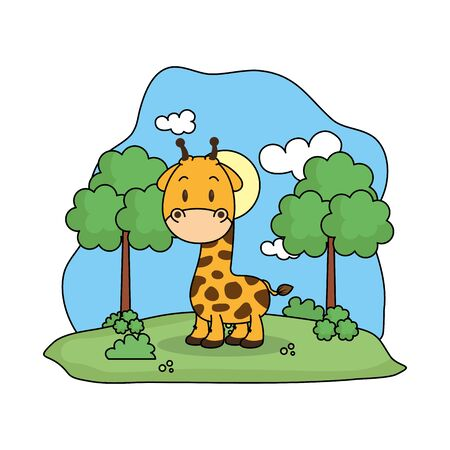 cute giraffe in the landscape vector illustration design