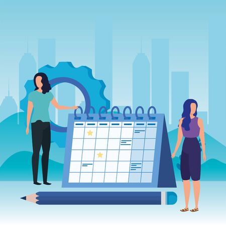 young women with calendar characters vector illustration design Çizim